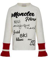 Moncler - Long-sleeve Script T-shirt W/ Contrast Cuffs - Lyst