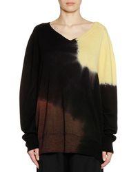 Marni - V-neck Long-sleeve Tie-dye Wool Knit Sweater - Lyst