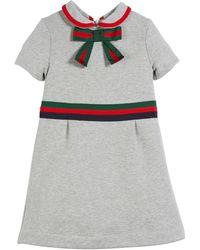 38421cbf0 Gucci - Web-trim Bow Felted Cotton Jersey Dress - Lyst