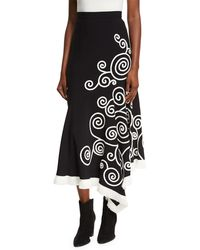 Andrew Gn - Swirl-embroidered Midi Skirt - Lyst