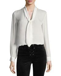 L'Agence - Gisele Necktie Silk Blouse - Lyst