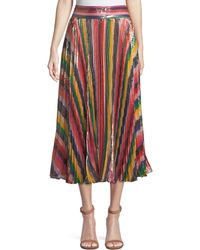 Alice + Olivia | Katz Sunburst Pleated Metallic Striped Midi Skirt | Lyst