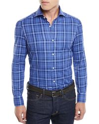 Isaia - Men's Madras Plaid Cotton Sport Shirt - Lyst