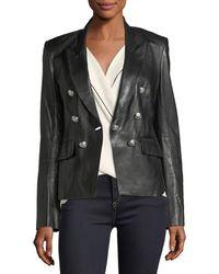 Veronica Beard - Cooke Peak-lapel Leather Jacket - Lyst
