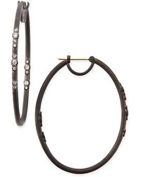 Armenta - Midnight Scattered Diamond Oval Hoop Earrings - Lyst