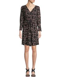 Rebecca Taylor - Long-sleeve Cheetah-print V-neck Dress - Lyst