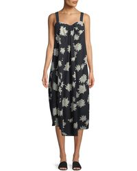 Vince - Draped Chrysanthemum Sleeveless Midi Dress - Lyst