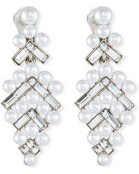 Oscar de la Renta - Baguette & Pearly Drop Earrings - Lyst