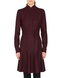 Akris Punto - Long-sleeve Stand-collar Flannel Wool Dress W/ Bell-shape Skirt - Lyst