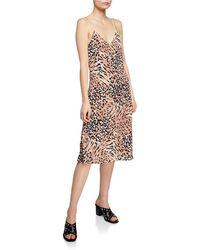 PAIGE - Cicely Animal-print V-neck Spaghetti-strap Slip Dress - Lyst