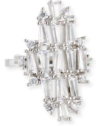 Fallon - Monarch Deco Vertical Crystal Ring - Lyst