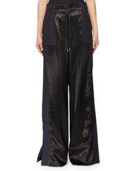 Sacai - Drawstring Wide-leg Satin Pants W/ Cotton Combo - Lyst