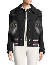Miu Miu   Wool Coat With Fur Tassels   Lyst