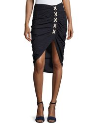Veronica Beard - Marlow Striped Lace-up Ruched Skirt - Lyst