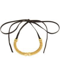 Fallon - Link-front Leather Choker Necklace - Lyst