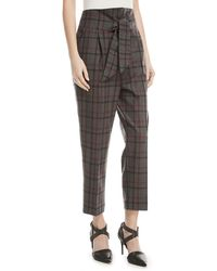 Brunello Cucinelli - High-waist Tie-front Tapered-leg Plaid Wool Trousers - Lyst