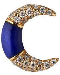 Sydney Evan 14k Lapis & Diamond Inverted Crescent Stud Earring, Single - Multicolour