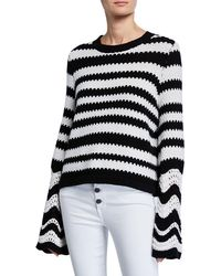 Alice + Olivia - Alivia Striped Textured Bell-sleeve Pullover - Lyst eb8401911