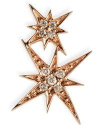 Sydney Evan - 14k Pave Diamond Double Starburst Stud Earring - Lyst