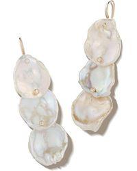 Mizuki - 14k Triple Petal Pearl & Diamond Drop Earrings - Lyst