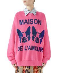 Gucci - Orso And Bosco Heavy Felt Oversized Cotton Sweatshirt W/ Beaded Guccy - Lyst
