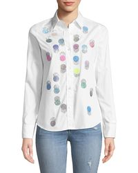 Libertine - Button-front Collared Multicolor Beaded-dots Cotton Shirt - Lyst