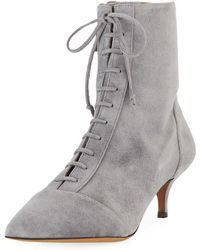 Tabitha Simmons - Emmet Suede Point-toe Lace-up Ankle Boots - Lyst
