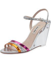 Miu Miu - Plexi Glitter And Metallic Wedge Sandals - Lyst