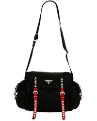 b1ee46db7a Lyst - Prada Embroidered Nylon Drawstring Bag in Black