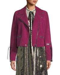 COACH - Cropped Suede Moto Jacket - Lyst