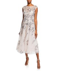 Teri Jon - Bateau-neck Cap-sleeve 3d Floral Embroidered Tulle Dress - Lyst
