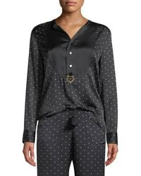 Figue - Milagro Long-sleeve Dot-print Silk Tux Shirt - Lyst