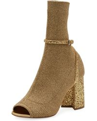 Miu Miu - Metallic Stretch-knit 85mm Open-toe Booties - Lyst