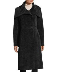 Sofia Cashmere - Envelope-collar Single-breasted Wool Coat - Lyst