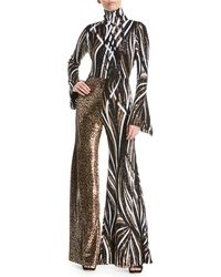 Halpern - Mixed Sequin-striped & Leopard Combo Jumpsuit - Lyst