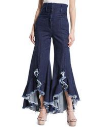 Sara Battaglia High-waist Frayed Flared-leg Denim Pants - Blue
