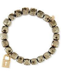 Sydney Evan - 14k Pyrite Beaded Stretch Bracelet W/ Lock Charm - Lyst