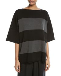Eskandar - Hand-loomed Mercerized Cotton Short-sleeve Colorblock Knit Top - Lyst