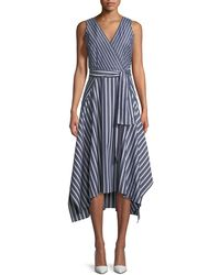 Lafayette 148 New York - Demetria Regal-striped Sleeveless Dress - Lyst