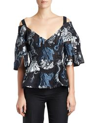Erdem - Karla Embroidered Cold-shoulder Top - Lyst
