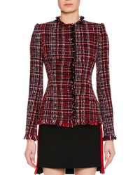 Alexander McQueen - Jewel-neck Artisan-tweed Fitted Classic Jacket - Lyst