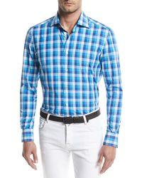 Kiton - Large-check Cotton Sport Shirt - Lyst