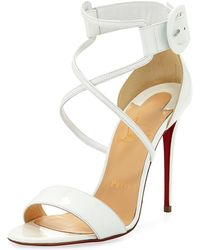 89aeb970c37a Lyst - Christian Louboutin Woven Leather Red-Sole Sandals in Natural