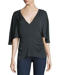 Halston - Flounce-sleeve V-neck Silk-blend Top - Lyst