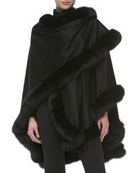 Sofia Cashmere - Fox Fur-trimmed Cashmere U-cape - Lyst