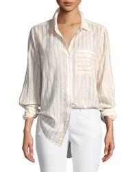 Current/Elliott - The Boyfriend Long-sleeve Button-front Striped Cotton Shirt - Lyst