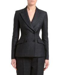 Prada Plaid Double-breasted Jacket - Black