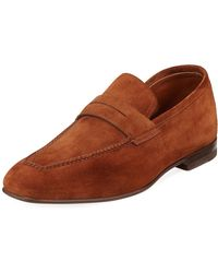 a164e82b68c Men s Felipe Leather Penny Loafers.  780. Neiman Marcus · Santoni - Foster  Textured Leather Flex Loafer - Lyst
