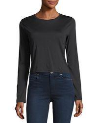 J Brand - Carolina Long-sleeve Cropped Cotton Tee - Lyst