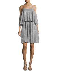 Halston - Cold-shoulder Textured Metallic Flounce Dress - Lyst